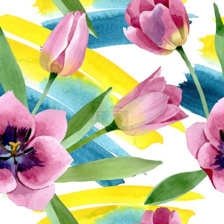 Photo for Pink tulips floral botanical flower. Wild spring leaf wildflower. Watercolor illustration set. Watercolour drawing fashion aquarelle. Seamless background pattern. Fabric wallpaper print texture. - Royalty Free Image