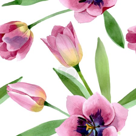 Foto de Pink tulips floral botanical flower. Wild spring leaf wildflower. Watercolor illustration set. Watercolour drawing fashion aquarelle. Seamless background pattern. Fabric wallpaper print texture. - Imagen libre de derechos