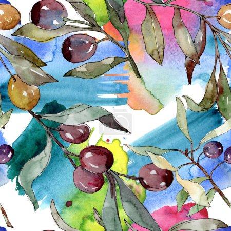 Foto de Rama de olivo con fruta negra y verde. Conjunto de ilustraciones de fondo acuarela. Acuarela de moda dibujo Aquarelle aislado. Patrón de fondo sin costuras. Textura de papel pintado de tela. - Imagen libre de derechos