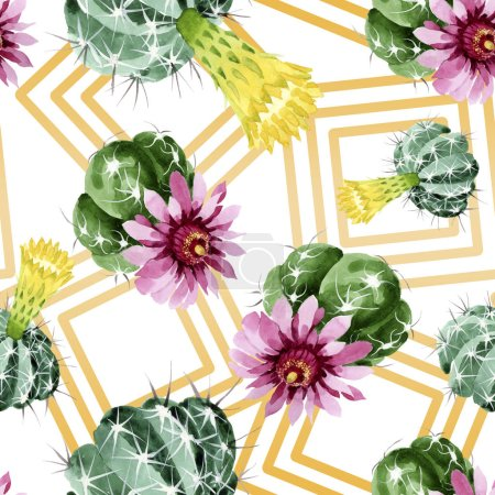 Photo for Green cactus floral botanical flowers. Wild spring leaf wildflower. Watercolor illustration set. Watercolour drawing fashion aquarelle. Seamless background pattern. Fabric wallpaper print texture. - Royalty Free Image