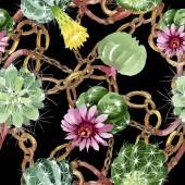 """Постер, картина, фотообои """"Зеленые кактусы цветочные ботанические цветы. Набор фоновых иллюстраций акварели. Бесшовный фоновый шаблон."""""""