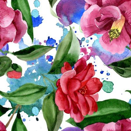 Photo pour Fleur botanique florale de camélia rouge. Fleur sauvage sauvage de feuille de source. Ensemble d'illustration d'aquarelle. Aquarelle de dessin à l'aquarelle. Modèle de fond sans couture. Texture d'impression de papier peint de tissu. - image libre de droit
