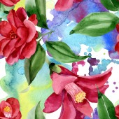 "Постер, картина, фотообои ""Red camelia floral botanical flower. Watercolor background illustration set. Seamless background pattern."""