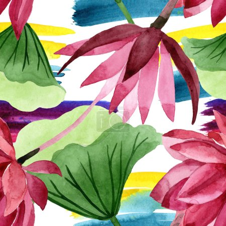 Photo for Red lotus floral botanical flower. Wild spring leaf wildflower. Watercolor illustration set. Watercolour drawing fashion aquarelle. Seamless background pattern. Fabric wallpaper print texture. - Royalty Free Image