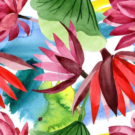 Foto de Flor botánica floral de loto rojo. Flor silvestre de la hoja de primavera wildflower. Conjunto de ilustraciones de acuarela. Acuarela dibujando moda acuarela. Patrón de fondo sin costuras. Textura de impresión de fondo de pantalla de tela. - Imagen libre de derechos