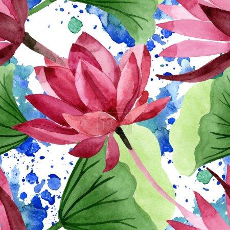 Photo pour Lotus rouge fleur botanique florale. Feuille de printemps sauvage fleur sauvage. Ensemble d'illustration aquarelle. Aquarelle dessin mode aquarelle. Modèle de fond sans couture. Texture d'impression papier peint tissu . - image libre de droit
