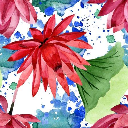 Photo pour Fleur botanique florale de lotus rouge. Fleur sauvage sauvage de feuille de source. Ensemble d'illustration d'aquarelle. Aquarelle de dessin à l'aquarelle. Modèle de fond sans couture. Texture d'impression de papier peint de tissu. - image libre de droit