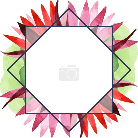 Photo for Red lotus floral botanical flower. Wild spring leaf wildflower isolated. Watercolor background illustration set. Watercolour drawing fashion aquarelle. Frame border ornament square. - Royalty Free Image
