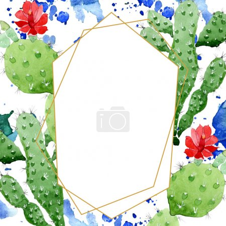 Photo for Green cactus floral botanical flowers. Wild spring leaf wildflower. Watercolor background illustration set. Watercolour drawing fashion aquarelle. Frame border crystal ornament square. - Royalty Free Image