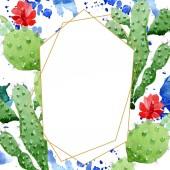 """Постер, картина, фотообои """"Зеленые кактусы цветочные ботанические цветы. Набор фоновых иллюстраций акварели. Рама границы орнамент площади."""""""