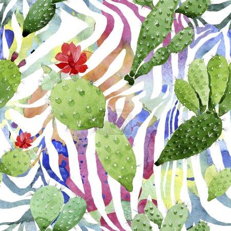 Photo pour Fleurs botaniques florales de cactus vert. Fleur sauvage sauvage de feuille de source. Ensemble d'illustration d'aquarelle. Aquarelle de dessin à l'aquarelle. Modèle de fond sans couture. Texture d'impression de papier peint de tissu. - image libre de droit