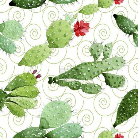 Foto de Flores botánicas florales de cactus verdes. Flor silvestre de la hoja de primavera wildflower. Conjunto de ilustraciones de acuarela. Acuarela dibujando moda acuarela. Patrón de fondo sin costuras. Textura de impresión de fondo de pantalla de tela. - Imagen libre de derechos
