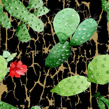 Photo pour Fleurs botaniques florales de cactus vert. Feuille de printemps sauvage fleur sauvage. Ensemble d'illustration aquarelle. Aquarelle dessin mode aquarelle. Modèle de fond sans couture. Texture d'impression papier peint tissu . - image libre de droit