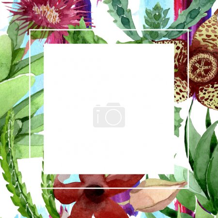 Photo for Green cactus floral botanical flower. Wild spring leaf wildflower isolated. Watercolor background illustration set. Watercolour drawing fashion aquarelle isolated. Frame border ornament square. - Royalty Free Image