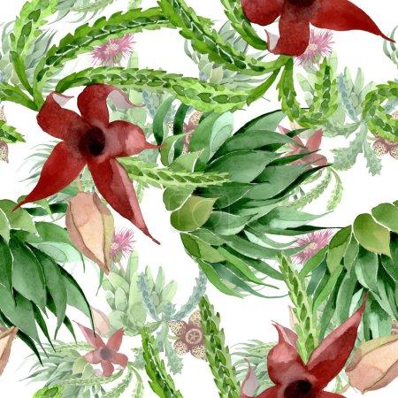 Foto de Flor botánica floral de cactus verde. Flor silvestre de la hoja de primavera wildflower. Conjunto de ilustraciones de acuarela. Acuarela dibujando moda acuarela. Patrón de fondo sin costuras. Textura de impresión de fondo de pantalla de tela. - Imagen libre de derechos