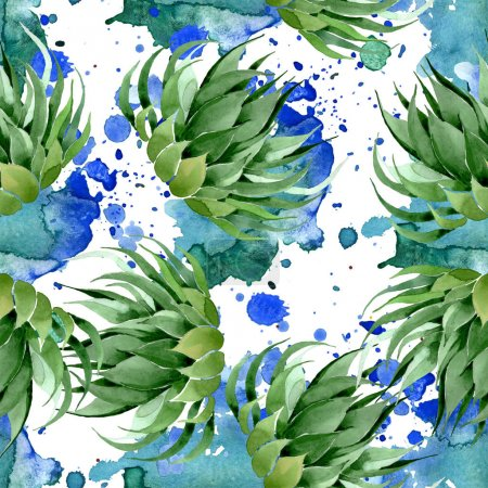 Photo pour Green cactus floral botanical flower. Wild spring leaf wildflower. Watercolor illustration set. Watercolour drawing fashion aquarelle. Seamless background pattern. Fabric wallpaper print texture. - image libre de droit