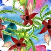 """Постер, картина, фотообои """"Зеленый кактус цветочный ботанический цветок. Набор фоновых иллюстраций акварели. Бесшовный фоновый шаблон."""""""