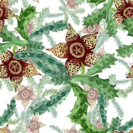 Photo for Green cactus floral botanical flower. Wild spring leaf wildflower. Watercolor illustration set. Watercolour drawing fashion aquarelle. Seamless background pattern. Fabric wallpaper print texture. - Royalty Free Image