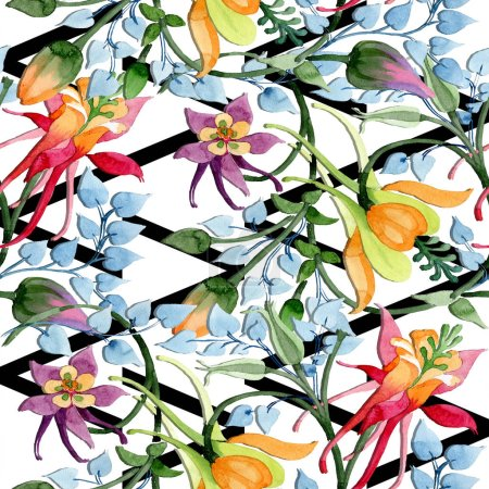 Photo for Ornament floral botanical flower. Watercolor background illustration set. Watercolour drawing fashion aquarelle isolated. Seamless background pattern. Fabric wallpaper print texture. - Royalty Free Image