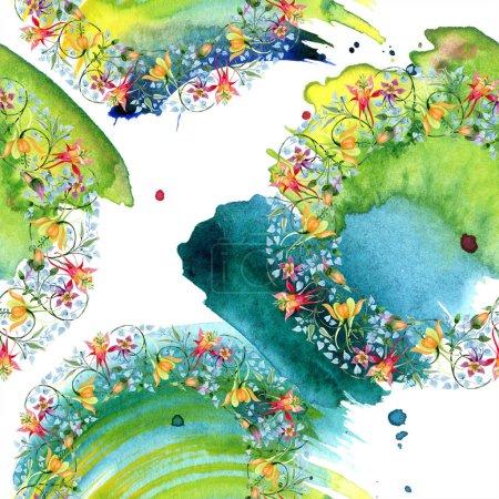 Photo pour Fleur botanique floral Ornament. Aquarelle de fond illustration ensemble. Aquarelle de mode dessin aquarelle isolé. Motif de fond transparente. Impression texture de tissu papier peint. - image libre de droit