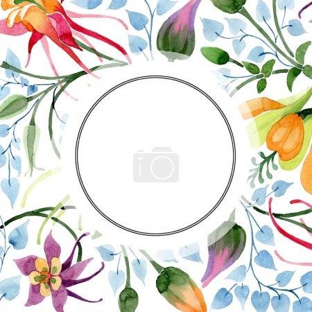 Photo pour Fleur botanique floral Ornament. Wildflower de feuille de printemps sauvage isolé. Aquarelle de fond illustration ensemble. Aquarelle de mode dessin aquarelle isolé. Place de cadre bordure ornement. - image libre de droit