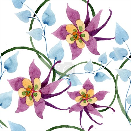 Ornament floral botanical flower. Watercolor background illustration set. Watercolour drawing fashion aquarelle isolated. Seamless background pattern. Fabric wallpaper print texture.