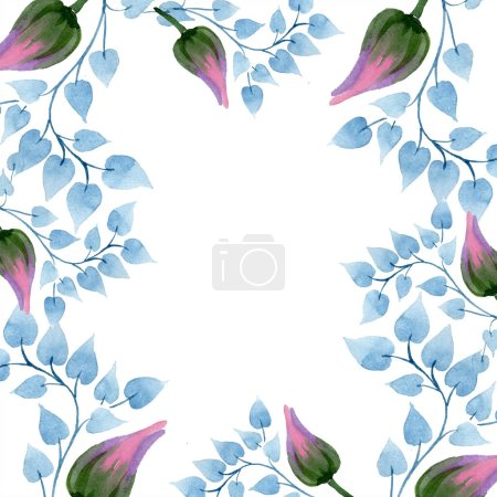 Photo for Ornament floral botanical flower. Wild spring leaf wildflower isolated. Watercolor background illustration set. Watercolour drawing fashion aquarelle isolated. Frame border ornament square. - Royalty Free Image