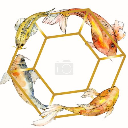 Watercolor aquatic underwater tropical fish set. Red sea and exotic fishes inside: Goldfish. Frame border square.