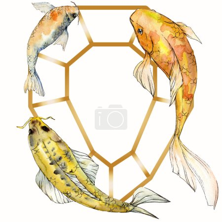 Photo pour Coffret aquarelle aquatique sous-marin coloré des poissons tropicaux. Mer rouge et des poissons exotiques à l'intérieur: poisson rouge. Éléments d'aquarelle fond, texture, motif de wrapper. Place de cadre bordure ornement. - image libre de droit