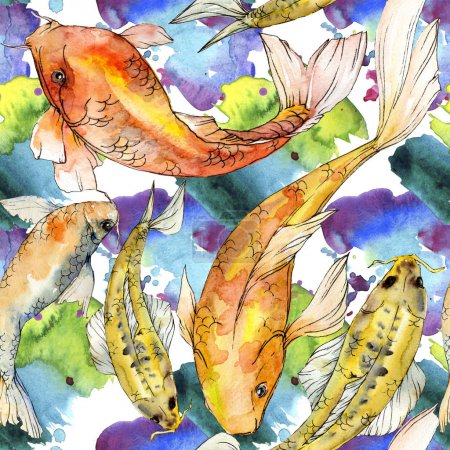Photo for Watercolor aquatic underwater colorful tropical fish set. Red sea and exotic fishes inside: Golden fish. Aquarelle elements for background, texture, wrapper pattern. - Royalty Free Image