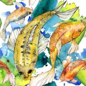 """Постер, картина, фотообои """"Watercolor aquatic underwater colorful tropical fish set. Red sea and exotic fishes inside: Golden fish."""""""