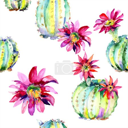 Photo for Green cactus. Floral botanical flower. Wild spring leaf wildflower isolated. Watercolour drawing fashion aquarelle isolated. Seamless background pattern. Fabric wallpaper print texture. - Royalty Free Image
