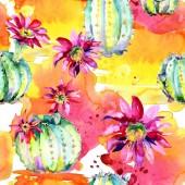 """Постер, картина, фотообои """"Зеленый кактус. Цветочный ботанический цветок. Дикий весенний лист полевых цветов изолированы. Бесшовный фоновый шаблон."""""""