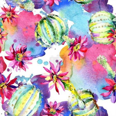 Foto de Cactus verde. Flor botánica floral. Hoja de primavera silvestre wildflower aislado. Acuarela dibujando moda acuarela aislada. Patrón de fondo sin costuras. Textura de impresión de fondo de pantalla de tela. - Imagen libre de derechos