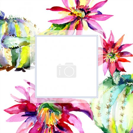 Photo for Green cactus. Floral botanical flower. Wild spring leaf wildflower isolated. Watercolor background illustration set. Watercolour drawing fashion aquarelle isolated. Frame border ornament square. - Royalty Free Image