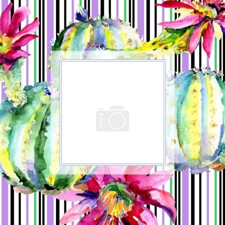 Green cactus. Floral botanical flower. Frame border ornament square. Watercolor background illustration set.