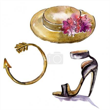 Photo pour Bracelet, chapeau et rouge sketch mode glamour. Les accessoires de vêtements placent la tenue à la mode. Ensemble de fond d'aquarelle. Aquarelle de dessin à l'aquarelle. Élément d'illustration isolé. - image libre de droit
