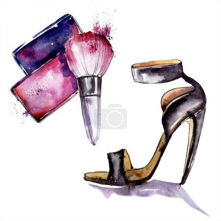 Photo pour Rouge et chaussure esquisse mode glamour illustration. Vêtements accessoires ensemble tenue à la mode. Ensemble de fond aquarelle. Aquarelle dessin mode aquarelle. Élément d'illustration isolé . - image libre de droit