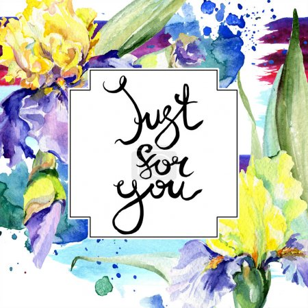 Photo for Purple yellow iris. Floral botanical flower. Wild spring leaf wildflower isolated. Watercolor background illustration set. Watercolour drawing fashion aquarelle. Frame border ornament square. - Royalty Free Image
