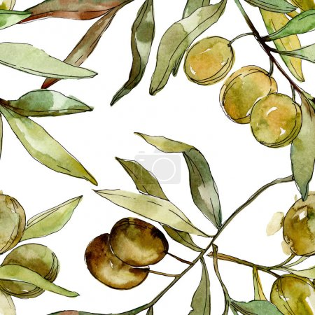 Photo for Green olives watercolor background illustration set. Watercolour drawing aquarelle. Green leaf. Leaf plant botanical garden floral foliage. Seamless background pattern. Fabric wallpaper print texture. - Royalty Free Image