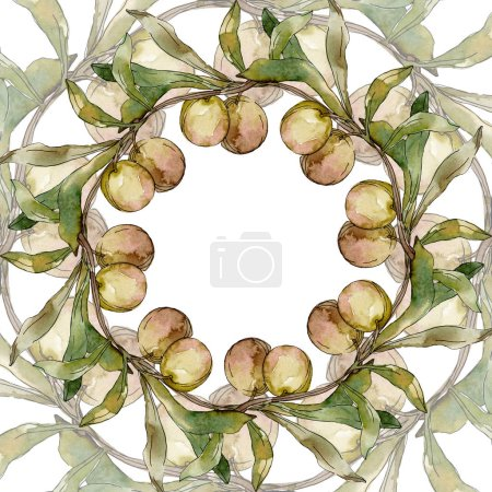 Photo for Green olives watercolor background illustration set. Watercolour drawing fashion aquarelle isolated. Green leaf. Leaf plant botanical garden floral foliage. Frame border ornament square. - Royalty Free Image