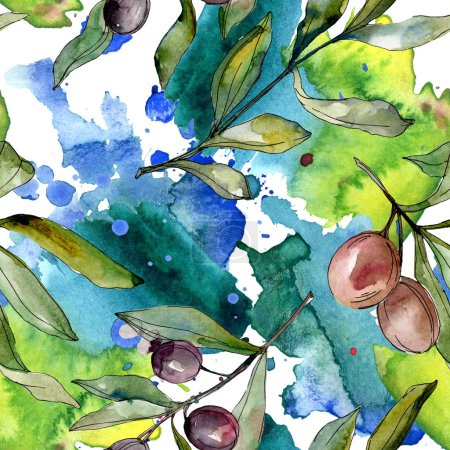 Black olives watercolor illustration set. Watercolour seamless background pattern. Fabric wallpaper print texture.