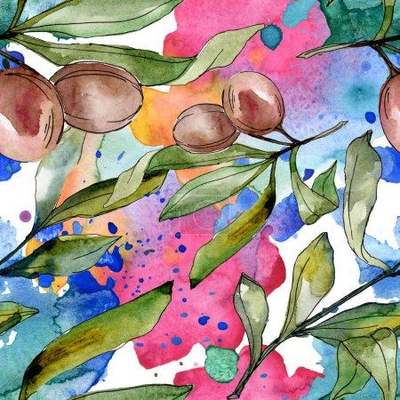 Photo pour Olives noires aquarelle fond illustration ensemble. Aquarelle de mode dessin aquarelle isolé. Motif de fond transparente. Impression texture de tissu papier peint. - image libre de droit