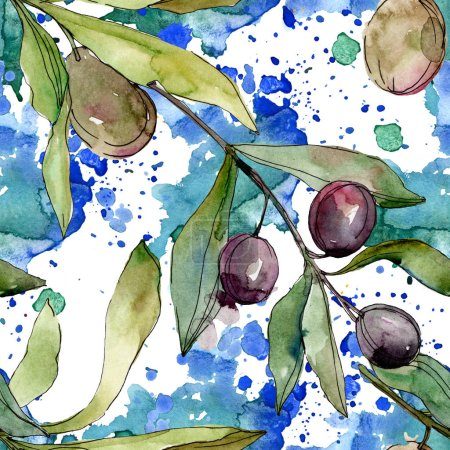 Photo for Black olives watercolor background illustration set. Watercolour drawing fashion aquarelle isolated. Seamless background pattern. Fabric wallpaper print texture. - Royalty Free Image