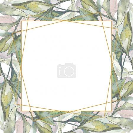 Foto de Black olives watercolor background illustration set. Watercolour drawing fashion aquarelle isolated. Green leaf. Leaf plant botanical garden floral foliage. Frame border ornament square. - Imagen libre de derechos