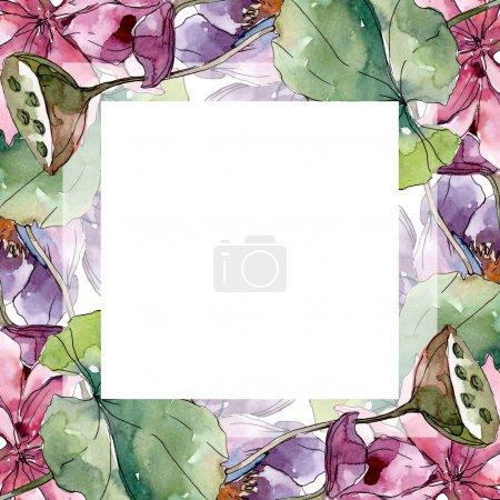 Photo pour Lotus fleurs botaniques florales. Feuille sauvage de printemps fleur sauvage isolée. Ensemble d'illustration de fond aquarelle. Aquarelle dessin mode aquarelle isolé. Cadre bordure ornement carré . - image libre de droit