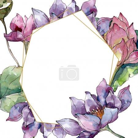 Photo pour Lotus fleurs botaniques florales. Feuille sauvage de printemps fleur sauvage isolée. Ensemble d'illustration de fond aquarelle. Aquarelle dessin mode aquarelle isolé. Cadre bordure cristal ornement carré . - image libre de droit