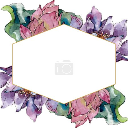 Photo for Lotus floral botanical flowers. Wild spring leaf wildflower isolated. Watercolor background illustration set. Watercolour drawing fashion aquarelle isolated. Frame border ornament square. - Royalty Free Image
