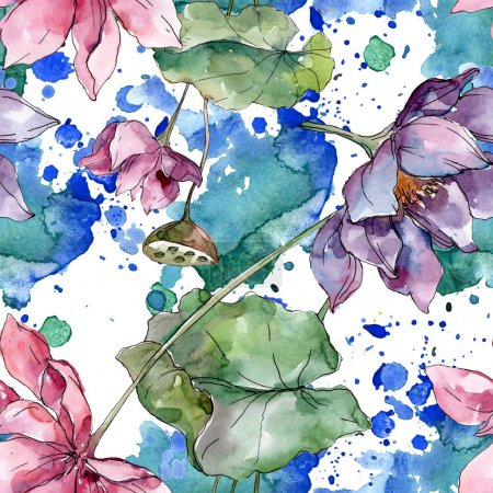 Photo for Lotus floral botanical flowers. Wild spring leaf wildflower. Watercolor illustration set. Watercolour drawing fashion aquarelle. Seamless background pattern. Fabric wallpaper print texture. - Royalty Free Image