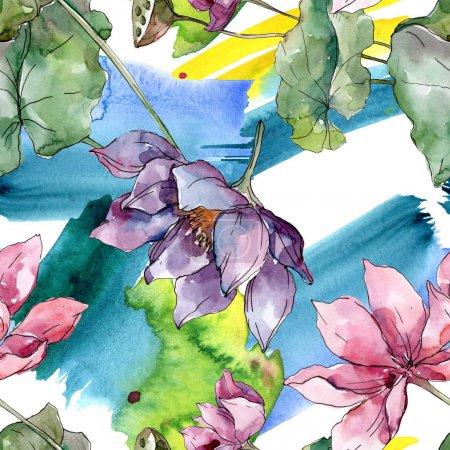 Photo pour Lotus fleurs botaniques florales. Feuille de printemps sauvage fleur sauvage. Ensemble d'illustration aquarelle. Aquarelle dessin mode aquarelle. Modèle de fond sans couture. Texture d'impression papier peint tissu . - image libre de droit